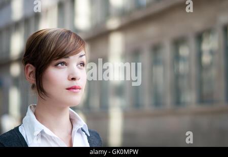 businesswoman looks into the future - Stock Photo
