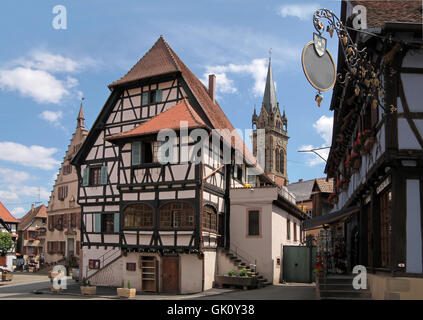 half-timbered houses in the village center - Stock Photo