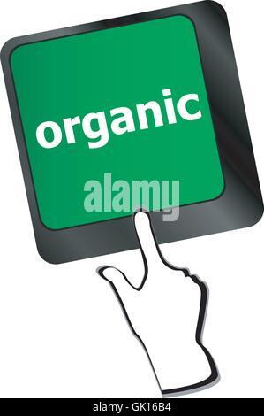 organic word on green keyboard button - Stock Photo