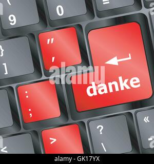 a thank you (danke) message on enter key of keyboard vector - Stock Photo