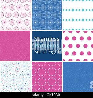 Vector blue abstract line art circles set of eight matching colorful seamless patterns backgrounds - Stock Photo