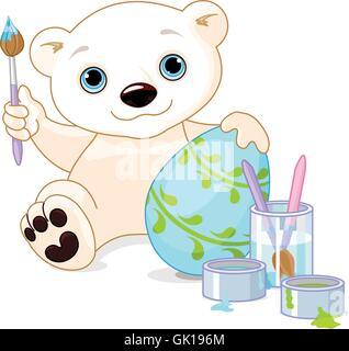 Easter Polar Bear - Stock Photo
