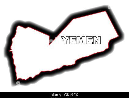 Outline Map of Yemen - Stock Photo