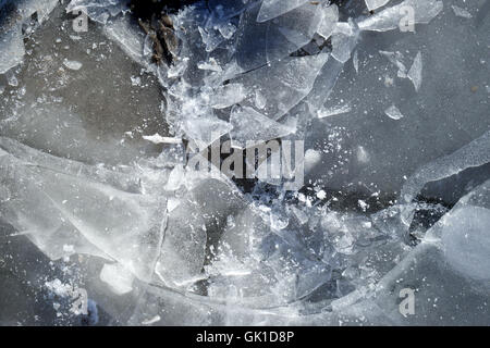 broken ice surface. natural, winter, frost, snow. - Stock Photo
