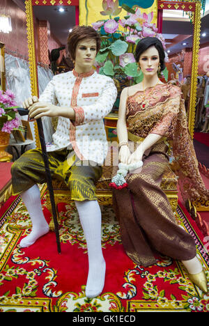 Show window with dummies with colorful costume Korat Nakhon Ratchasima Thailand
