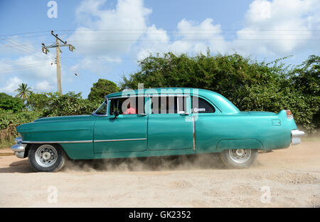 1950's classic vintage American Cadillac in western Cuba. - Stock Photo