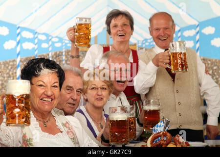 seniors at the wiesn - Stock Photo