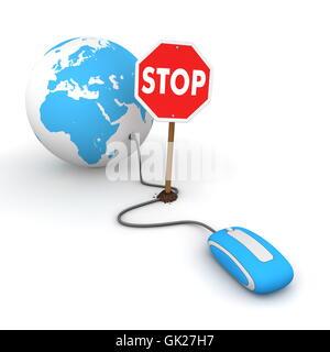 blue censorship stop - Stock Photo