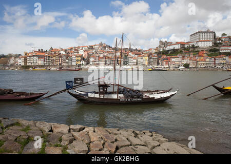 City of Porto in Portugal, traditional Rabelo Boat for wine transport on Douro River - Stock Photo