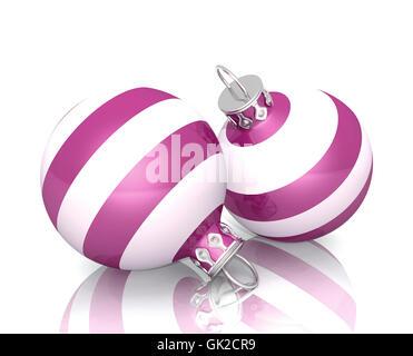 christmas balls - pink white striped 2x 02 - Stock Photo