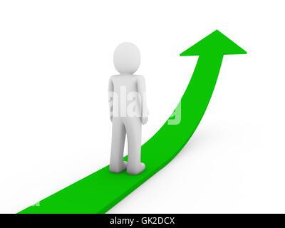 3d human green arrow growth - Stock Photo