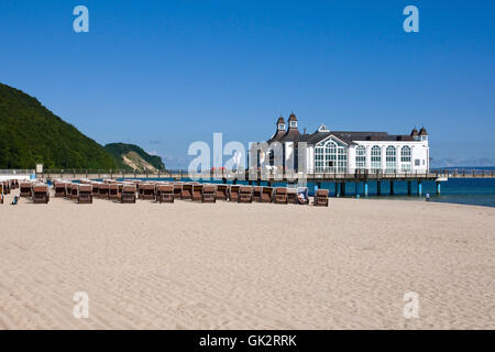 beach and pier in sellin - Stock Photo