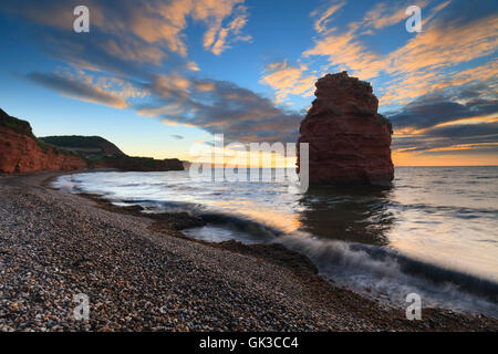 A sandstone sea stack at Ladram Bay, near Sidmouth in south east Devon. - Stock Photo