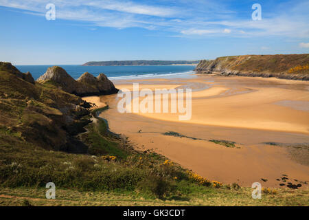 Three Cliffs Bay captured from Pennard Burrows, on the Gower in South Wales. - Stock Photo