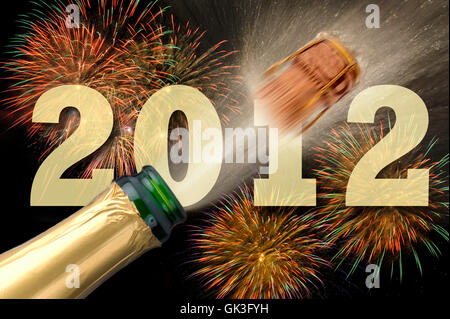 bottle champagne silvester - Stock Photo