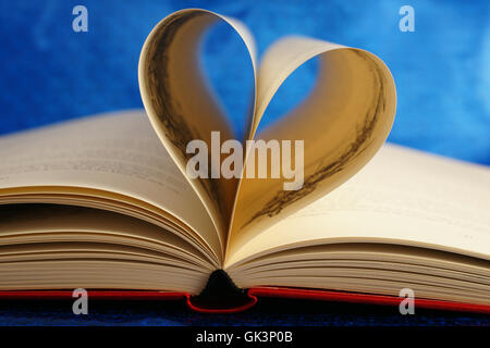 old book with heart - book with heart - Stock Photo