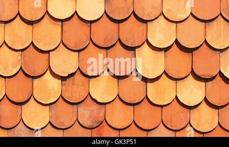 old terracotta roof tiles - terracotta tile - Stock Photo
