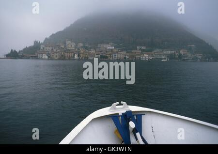Italy, Lombardy region, Iseo lake, the Peschiera Maraglio village, on the Montisola island, seen from the ferry - Stock Photo