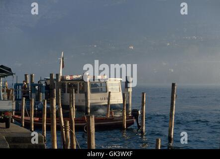 Italy, Lombardy region, Iseo lake, landing place of the ferry in Peschiera Maraglio village on Montisola island - Stock Photo