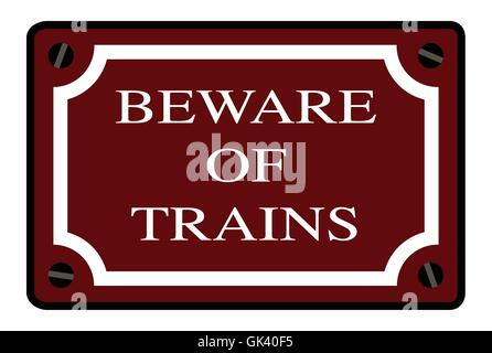 A beware of trains station name plate over a white background - Stock Photo