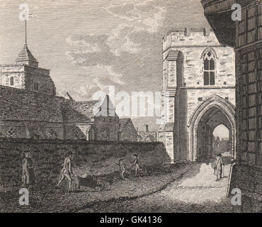CANTERBURY. 'West Gate and Holy Cross Church'. GOSTLING, antique print 1825 - Stock Photo