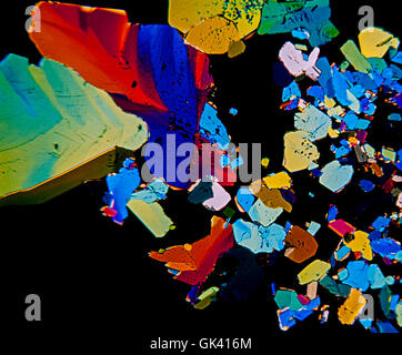Citric acid crystals photomicrography with polarized light. Portugal - Stock Photo