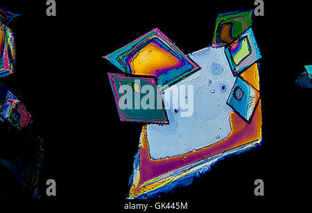 Sulfur crystals photomicrography with polarized light. Portugal - Stock Photo