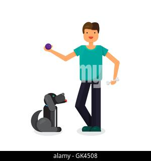Happy man with lovely dog. Walking with pet. Vector - Stock Photo
