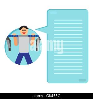 Sportman with sports equipment for street workout and pull-up bar. Thinking list. Template or blank with sport concept. - Stock Photo