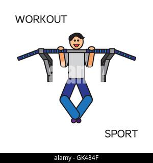 Sportman with sports equipment for street workout and pull-up bar. Vector - Stock Photo
