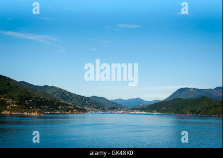 Port of Picton seen from ferry from Wellington to Picton via Marlborough Sounds, New Zealand - Stock Photo