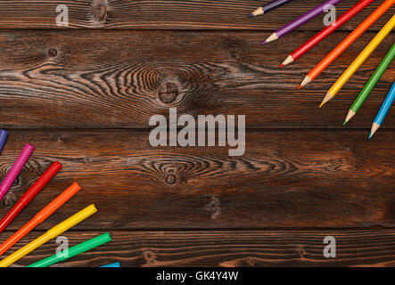 Lots of assorted colors marker pens and pencils with copyspace - Stock Photo
