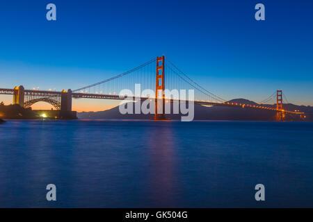 Golden Gate Bridge in San Francisco CA at night - Stock Photo