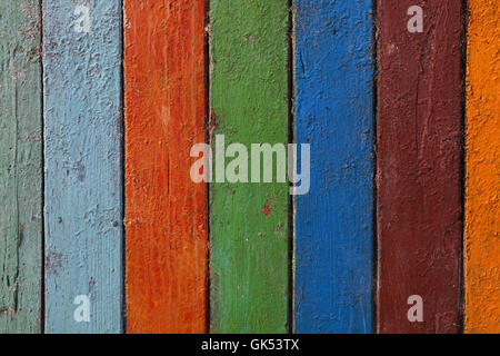 Multicolor old vintage grunge dirty painted colorful wooden planks background texture close up - Stock Photo