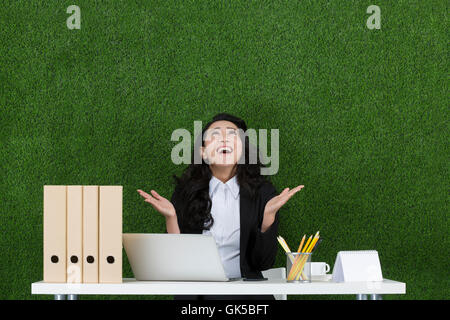 Grassland business woman using laptop - Stock Photo