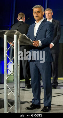 Sadiq Khan takes the stage after being elected as the new Mayor of London  Featuring: Sadiq Khan Where: London, - Stock Photo