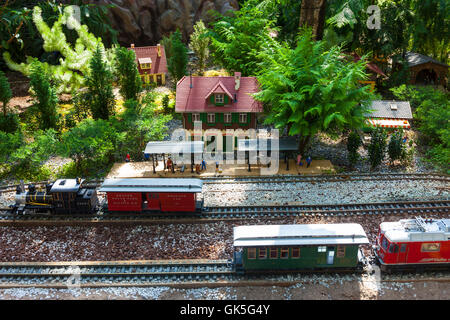 Miniature model of the train station shallow - Stock Photo
