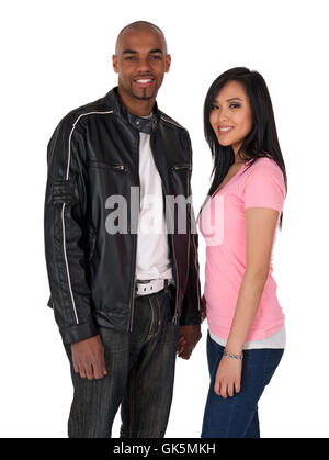 Smiling couple holding hands - Stock Photo