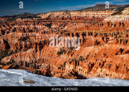 View of Cedar Breaks Amphitheater in late October from Point Supreme in Cedar Breaks National Monument, Utah, USA - Stock Photo