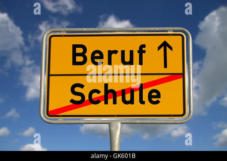 german ortsschild profession - Stock Photo