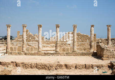 Paphos Archaeological Park in Cyprus. A UNESCO World Heritage Site. - Stock Photo