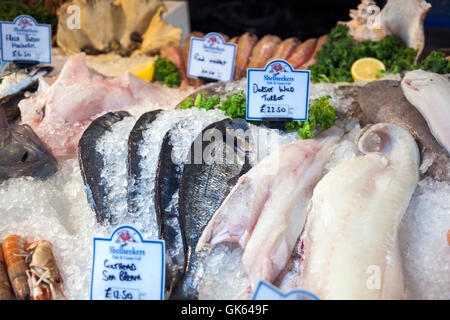 Fish in ice on display in a market (Borough Market in London Bridge, London, UK) - Stock Photo