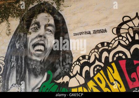 Mural Of Bob Marley Painted On A Wall In Sayulita, Riviera Nayarit, Mexico. Part 37