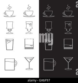 Vector set of cups and glasses in eps - Stock Photo