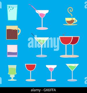 Vector set of goblets, cups, glass with drink on bar regiment - Stock Photo