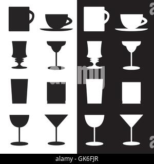 Vector set of goblets, cups, glass silhouettes - Stock Photo
