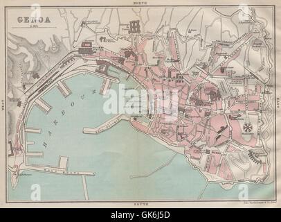 GENOA GENOVA Gênes antique town city plan mappa della città. Italy, 1890 - Stock Photo