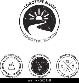 Vector set of ecology logotypes, icon and nature symbol: sun, river (water) in circle, mountains, hire, water - Stock Photo