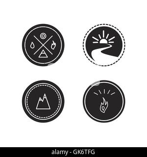 Vector set of ecology logotypes, icon and nature symbol: sun, river, water in circle, mountains, hire, water - Stock Photo