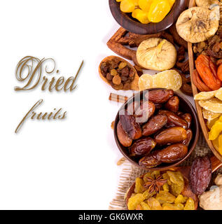 Dried fruits top view with copyspace - Stock Photo
